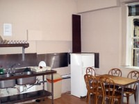 The communal kitchen at Acacia Hostel, London