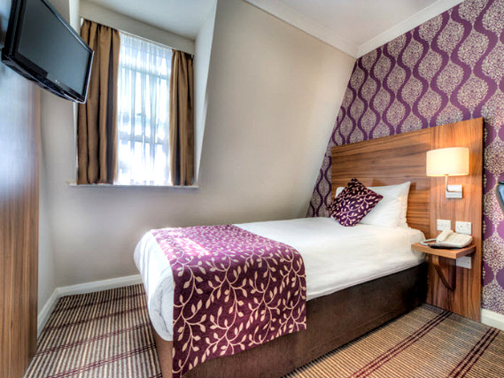 Single rooms at City Continental London Kensington provide privacy
