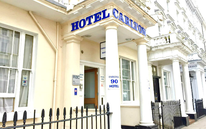 An exterior view of Carlton Hotel