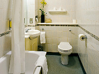 A typical bathroom at the Hyde Park Towers Hotel