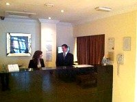 The reception desk at the Devoncove Hotel where the staff will be happy to help