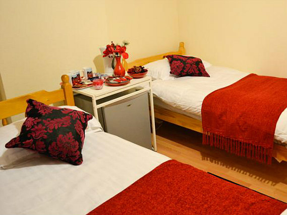 A spacious twin room at The Bridge Hotel