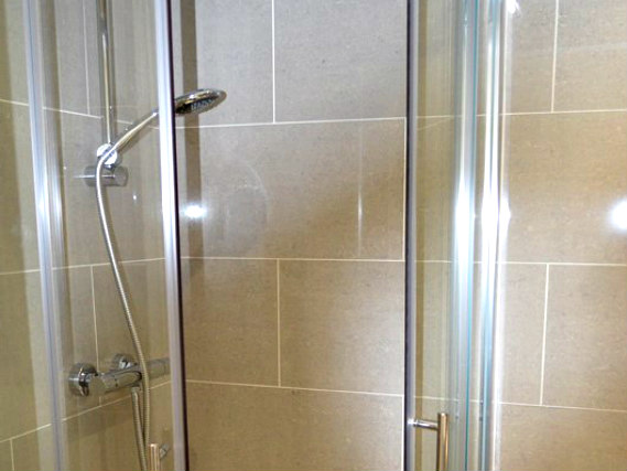 A typical shower system at Lexham Gardens Hotel