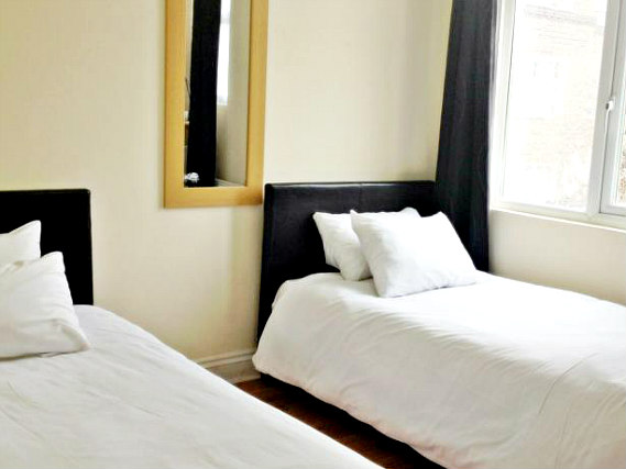 A twin room at City View Hotel Roman Road Market is perfect for a two guests