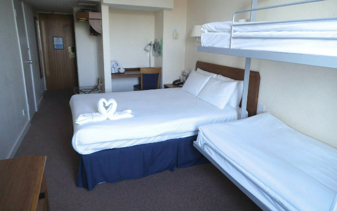 A typical quad room at Airport Inn Gatwick