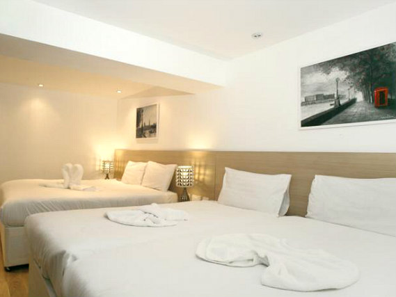 Quad rooms at The Kensington Studios are the ideal choice for groups of friends or families