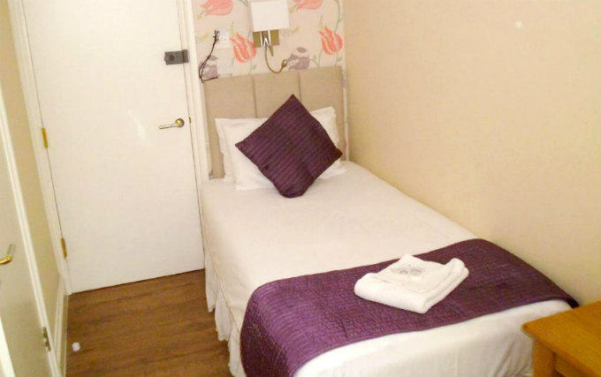 A typical single room at George Hotel Bloomsbury