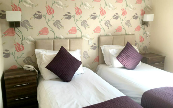 A typical twin room at George Hotel Bloomsbury
