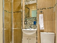 Bathrooms are stylish and modern at Lidos Hotel