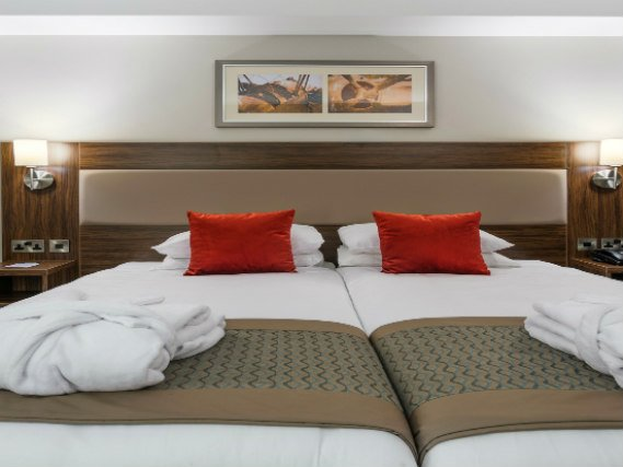 A twin room at Heston Hyde Hotel is perfect for two guests