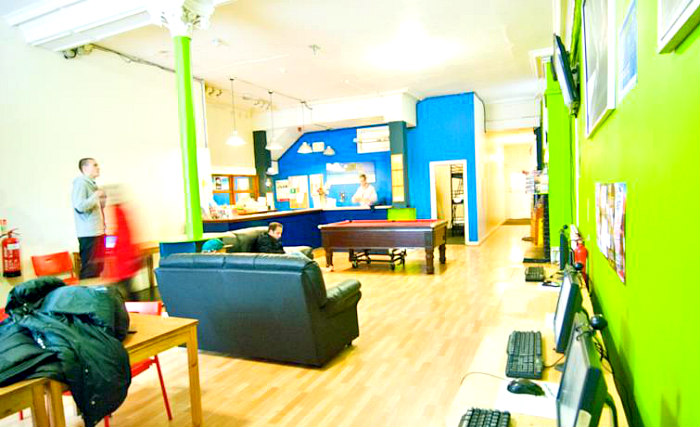 Relax in the lounge at London Eye Hostel