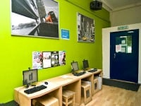 Stay in touch online with modern computers and LCD screens at London Eye Hostel