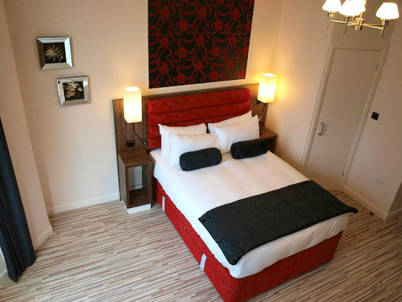 A typical double room at Simply Rooms and Suites