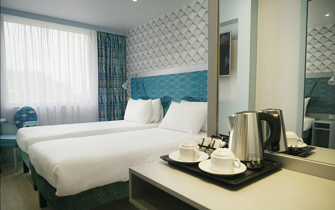 A twin room at Best Western Plus Wembley