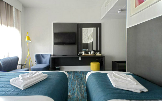 A typical twin room at K Hotel Kensington