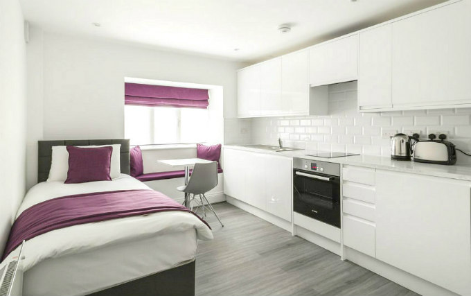 A single room at Smart Stay Swiss Cottage