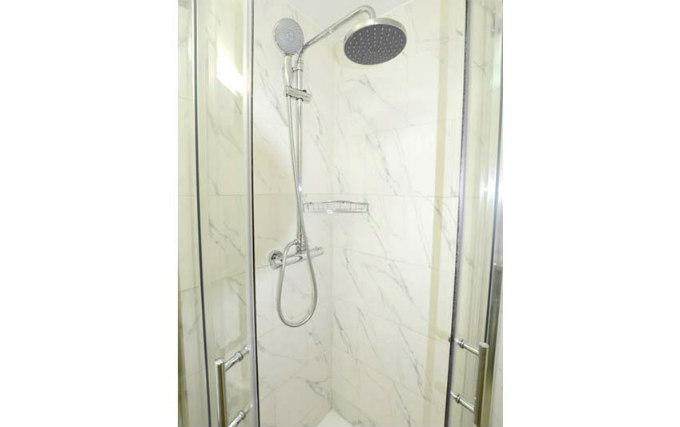 A typical shower system at PremierLux Serviced Apartments