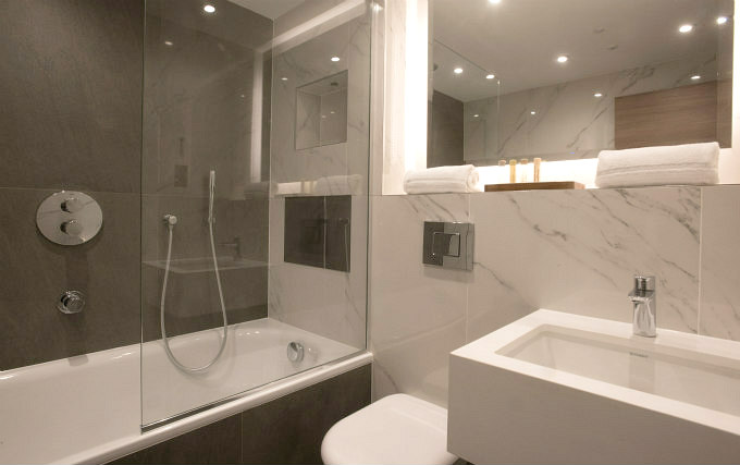 A typical shower system at Merit Kensington Hotel