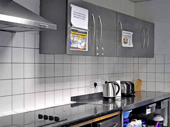The communal kitchen at Russell Square Hostel