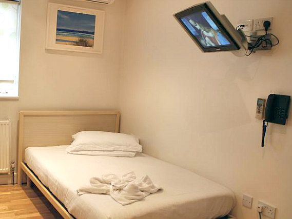 A typical single room at 146 Suites Gloucester Place
