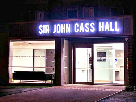 An exterior view of Sir John Cass Hall