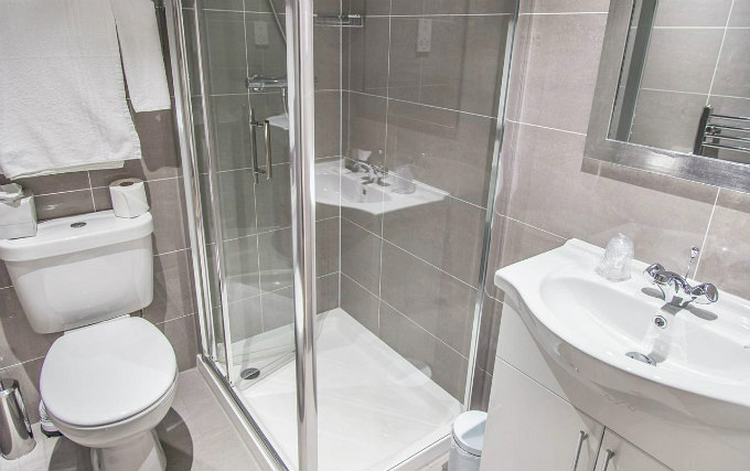 A typical shower system at Kensington Garden Hotel