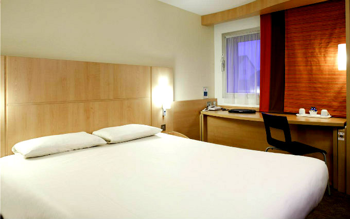 A typical double room at Ibis London Heathrow Airport