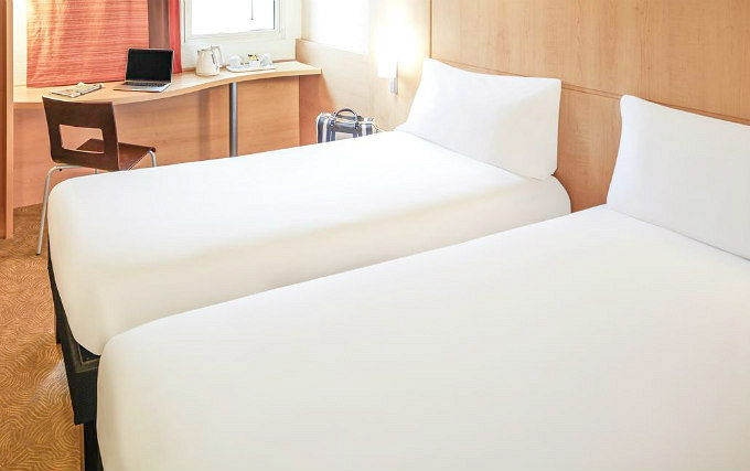 A twin room at Ibis London Heathrow Airport