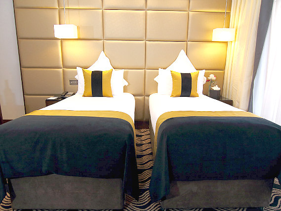 A twin room at Shaftesbury Piccadilly Hotel is perfect for two guests