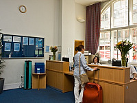 The friendly reception desk, where staff will be keen to help