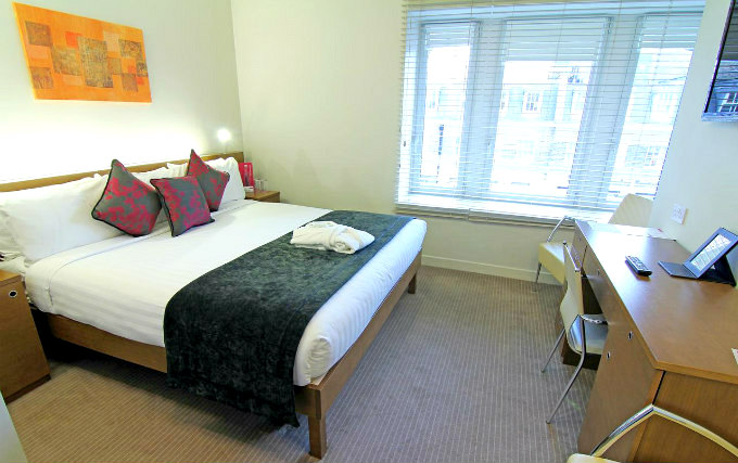 A typical double room at Ambassadors Hotel London