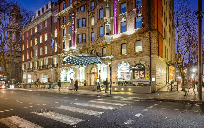 The entrance to Ambassadors Hotel London
