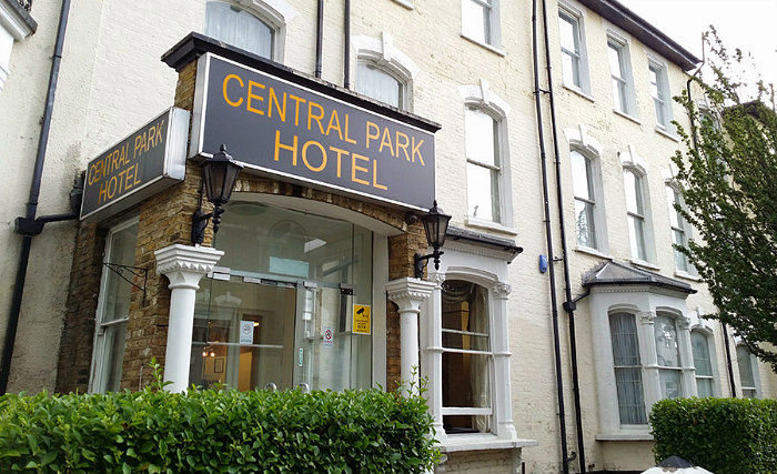An exterior view of Central Park Hotel