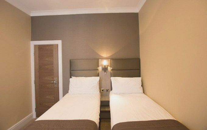 A twin room at Brunel Hotel