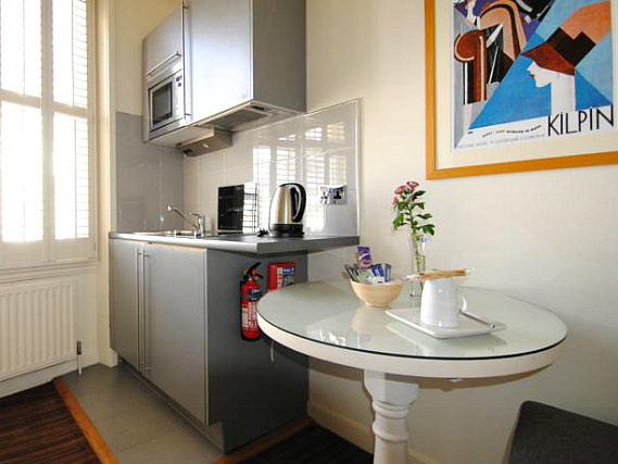 Save even more money by preparing your own food in the self-catering kitchen at Vancouver Studios London