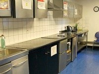 kitchen at Russell Square Hostel